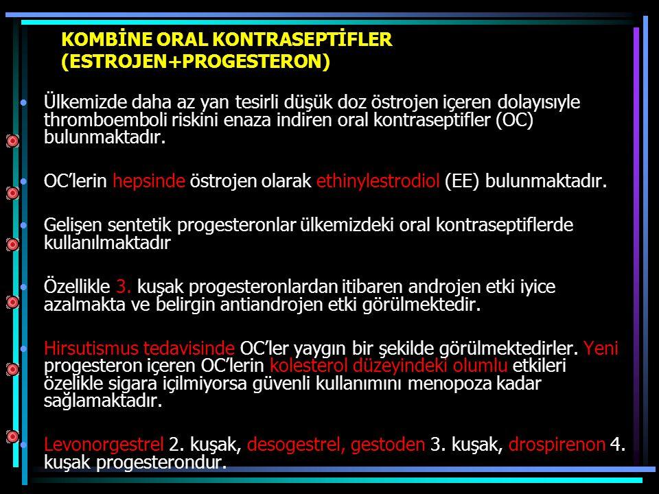 KOMBİNE ORAL KONTRASEPTİFLER (ESTROJEN+PROGESTERON)