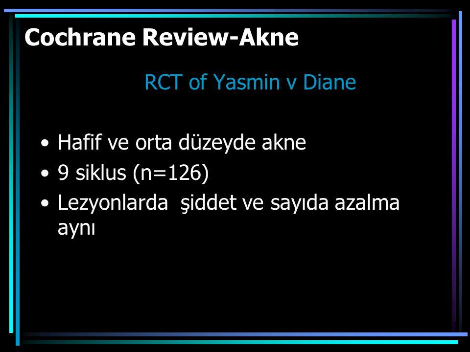 Cochrane Review-Akne RCT of Yasmin v Diane Hafif ve orta düzeyde akne