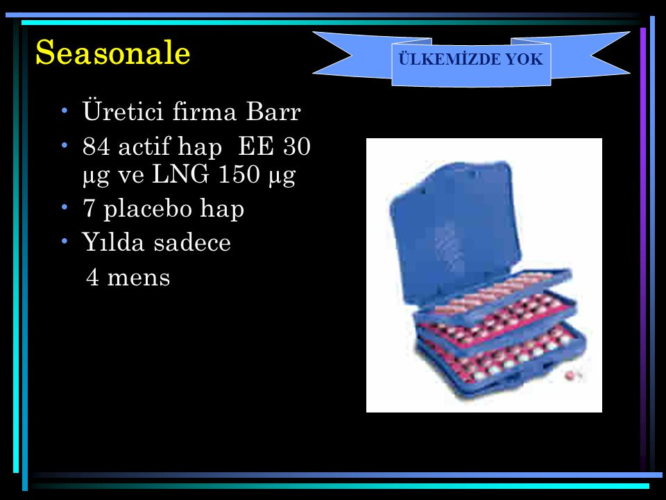 Seasonale Üretici firma Barr 84 actif hap EE 30 µg ve LNG 150 µg