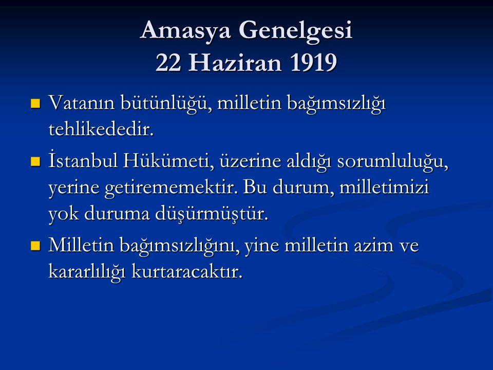 Amasya Genelgesi 22 Haziran 1919