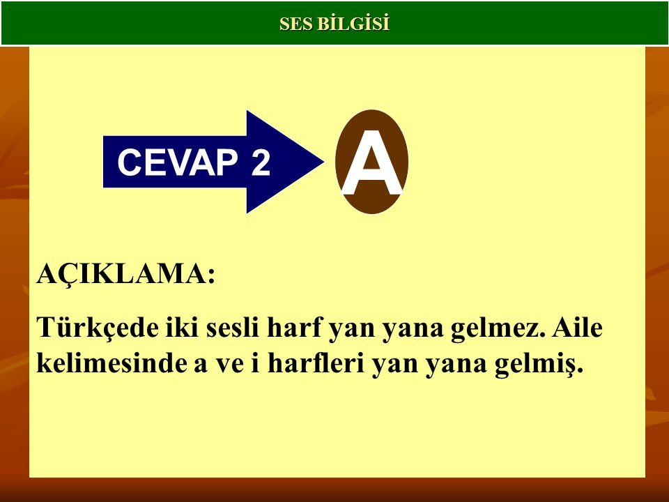 SES BİLGİSİ CEVAP 2. A. AÇIKLAMA: Türkçede iki sesli harf yan yana gelmez.