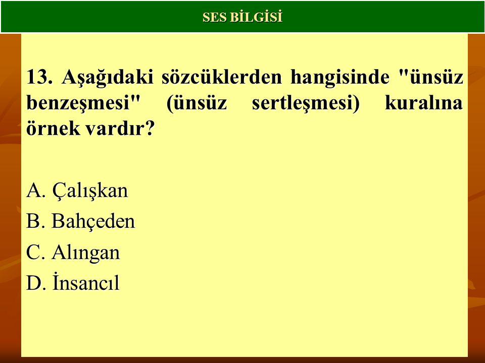 SES BİLGİSİ 13. Aşağıdaki sözcüklerden hangisinde ünsüz benzeşmesi (ünsüz sertleşmesi) kuralına örnek vardır