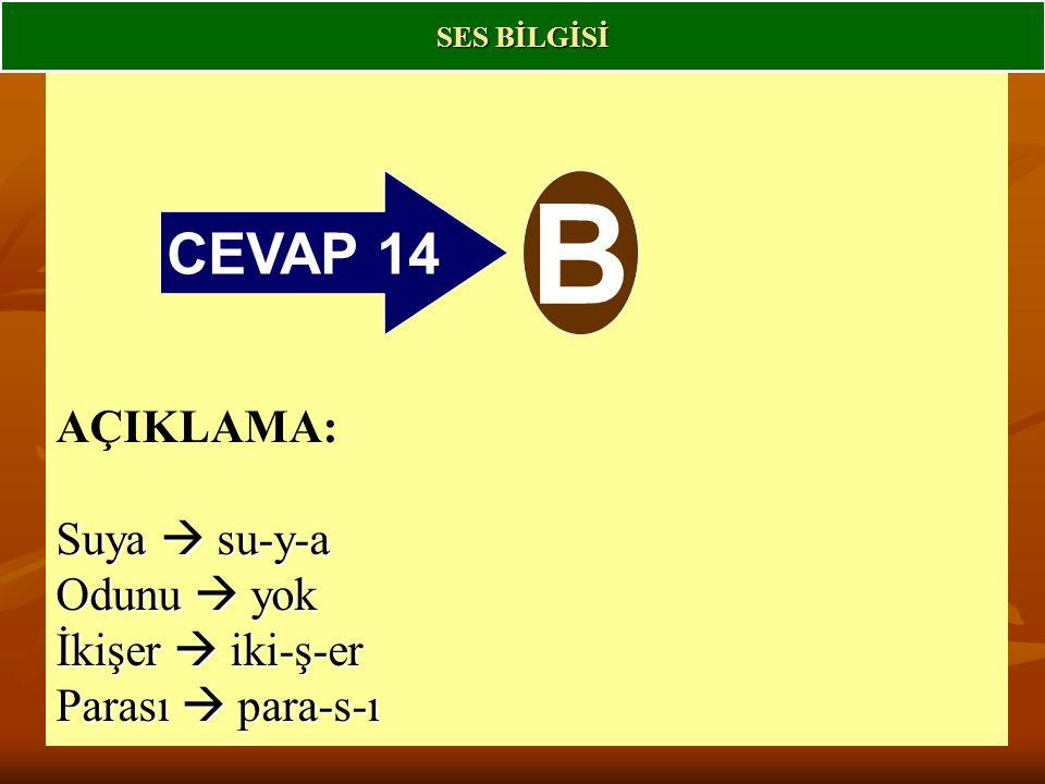 B CEVAP 14 AÇIKLAMA: Suya  su-y-a Odunu  yok İkişer  iki-ş-er