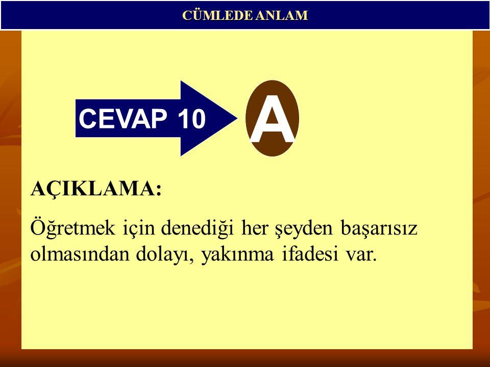 CÜMLEDE ANLAM CEVAP 10. A.