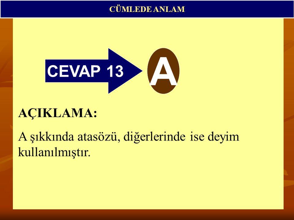 CÜMLEDE ANLAM CEVAP 13 A AÇIKLAMA: A şıkkında atasözü, diğerlerinde ise deyim kullanılmıştır.