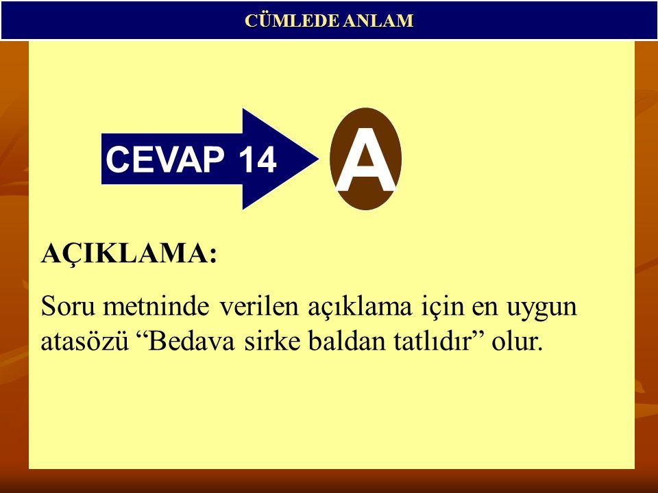 CÜMLEDE ANLAM CEVAP 14. A.