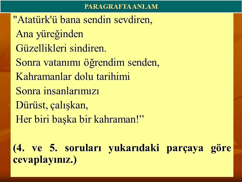 Atatürk ü bana sendin sevdiren, Ana yüreğinden Güzellikleri sindiren.
