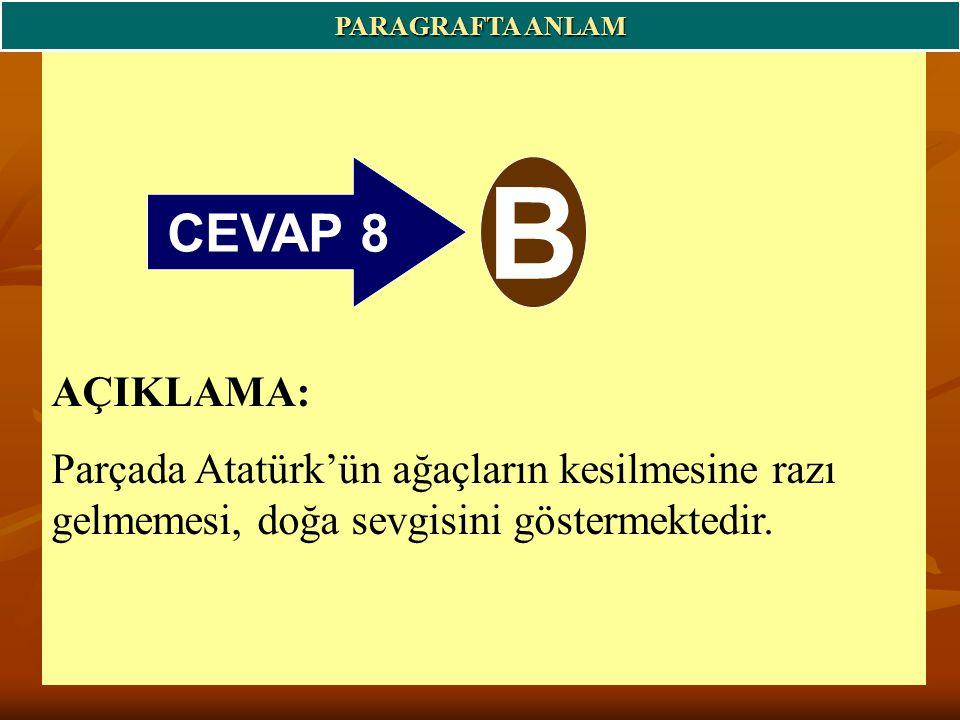 PARAGRAFTA ANLAM CEVAP 8. B.