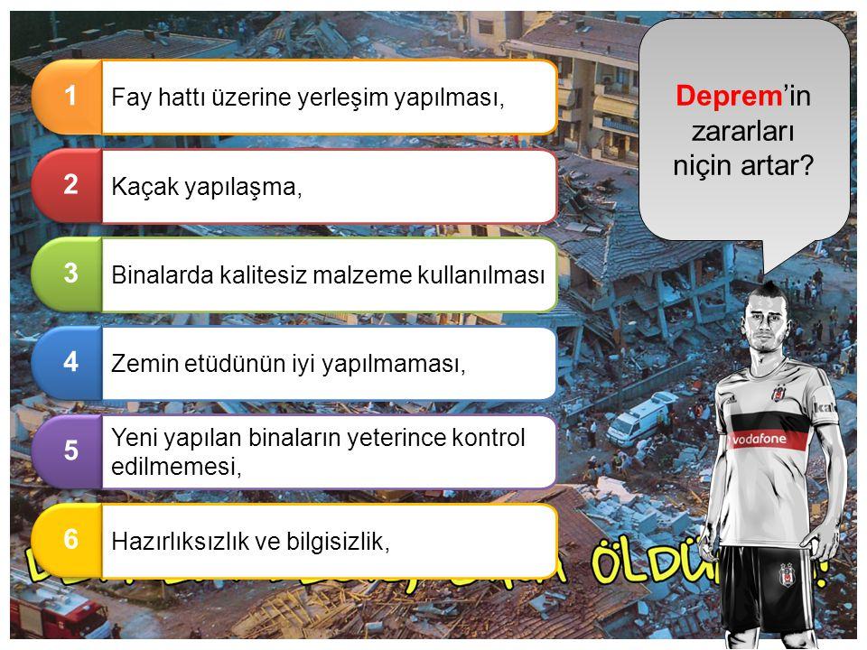 Deprem'in zararları niçin artar