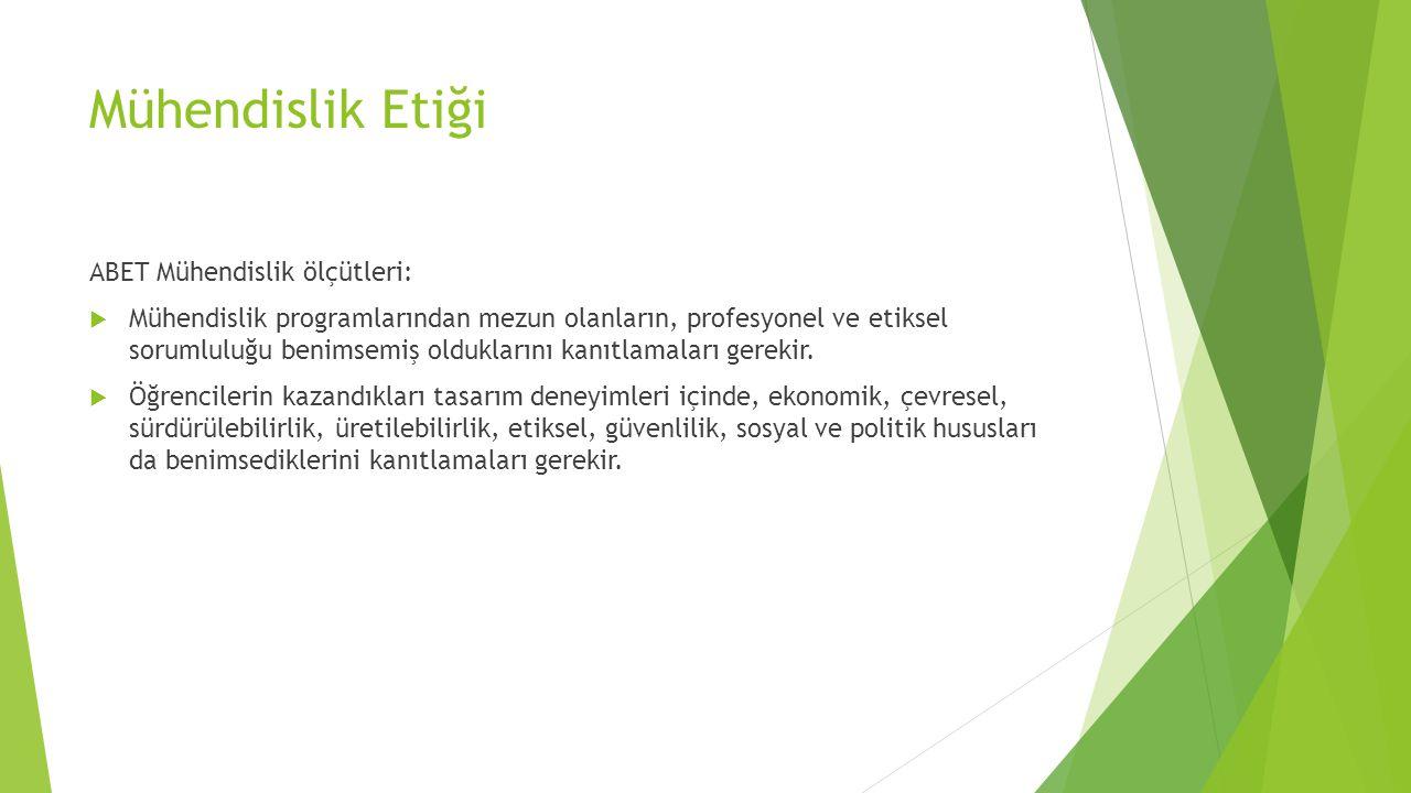 Mühendislik Etiği ABET Mühendislik ölçütleri: