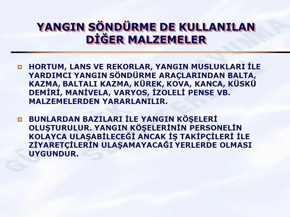 YANGIN SÖNDÜRME DE KULLANILAN DİĞER MALZEMELER