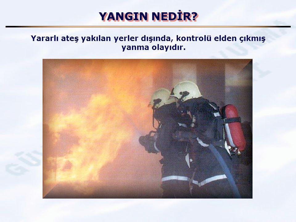 YANGIN NEDİR Yararlı ateş yakılan yerler dışında, kontrolü elden çıkmış yanma olayıdır.
