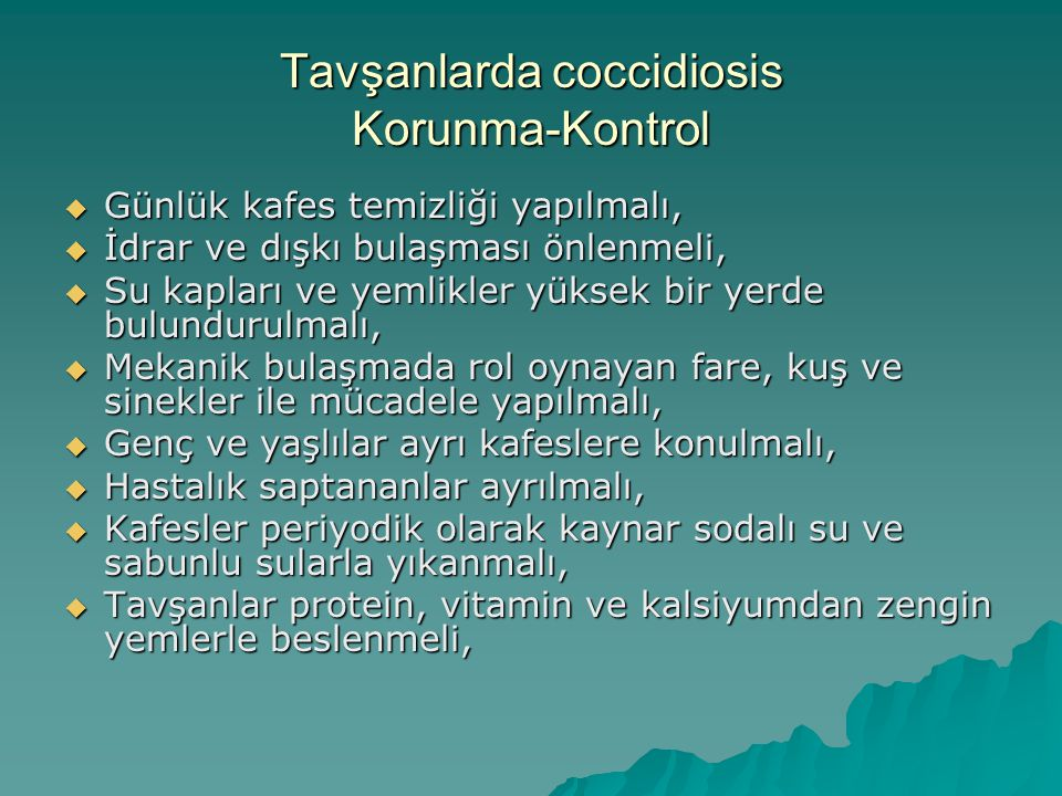 Tavşanlarda coccidiosis Korunma-Kontrol