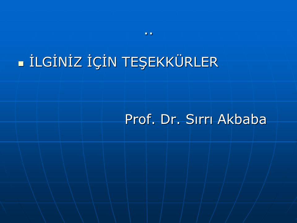 .. İLGİNİZ İÇİN TEŞEKKÜRLER Prof. Dr. Sırrı Akbaba