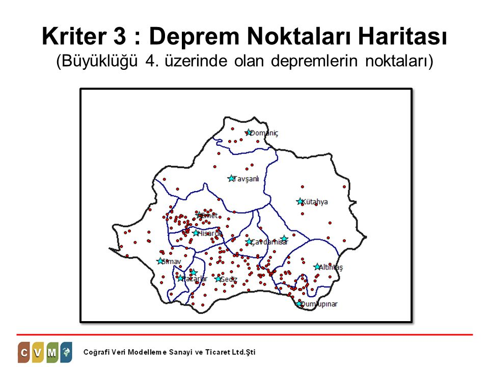 Kriter 3 : Deprem Noktaları Haritası (Büyüklüğü 4