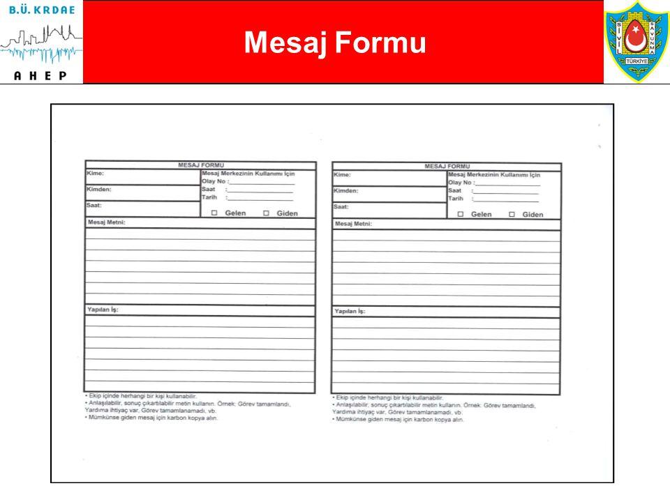 Mesaj Formu Mesaj Formu • Ekip içinde herhangi bir kişi kullanabilir.