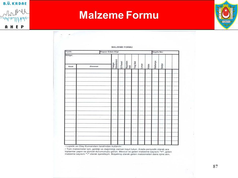 Malzeme Formu Malzeme Formu 1- Lojistik Bölümü tarafından kullanılır.