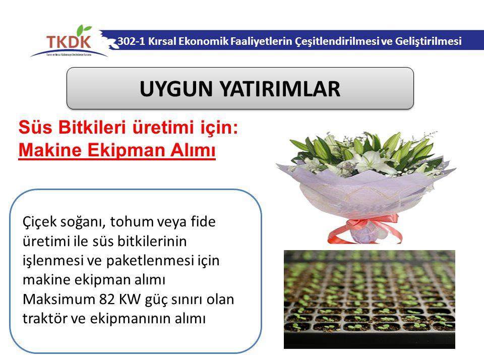 UYGUN YATIRIMLAR Süs Bitkileri üretimi için: Makine Ekipman Alımı