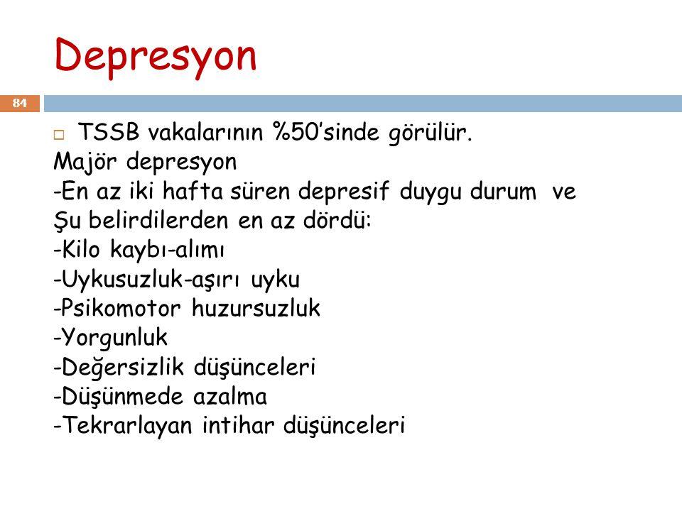 Depresyon TSSB vakalarının %50'sinde görülür. Majör depresyon