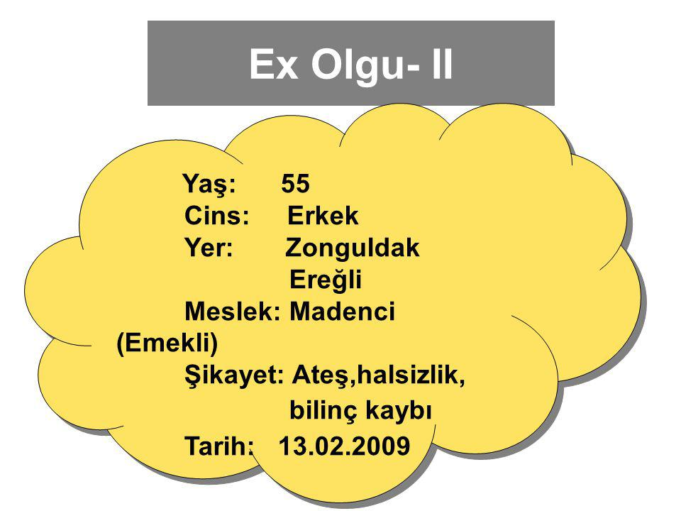 Ex Olgu- II Tarih: 13.02.2009 Cins: Erkek Yer: Zonguldak Ereğli