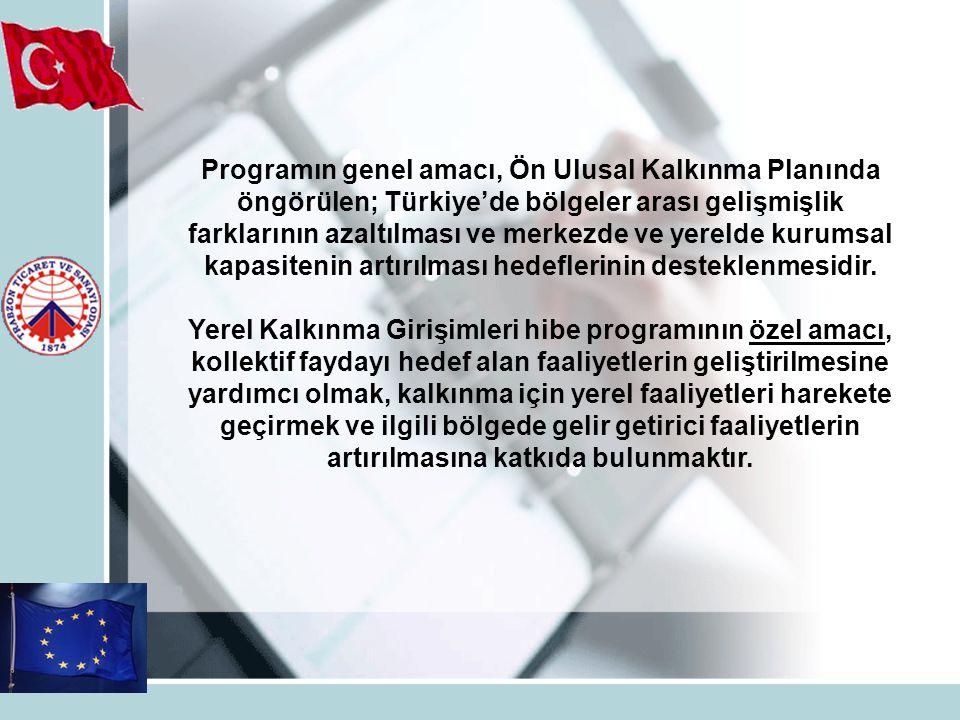Programın genel amacı, Ön Ulusal Kalkınma Planında öngörülen; Türkiye'de bölgeler arası gelişmişlik farklarının azaltılması ve merkezde ve yerelde kurumsal kapasitenin artırılması hedeflerinin desteklenmesidir.