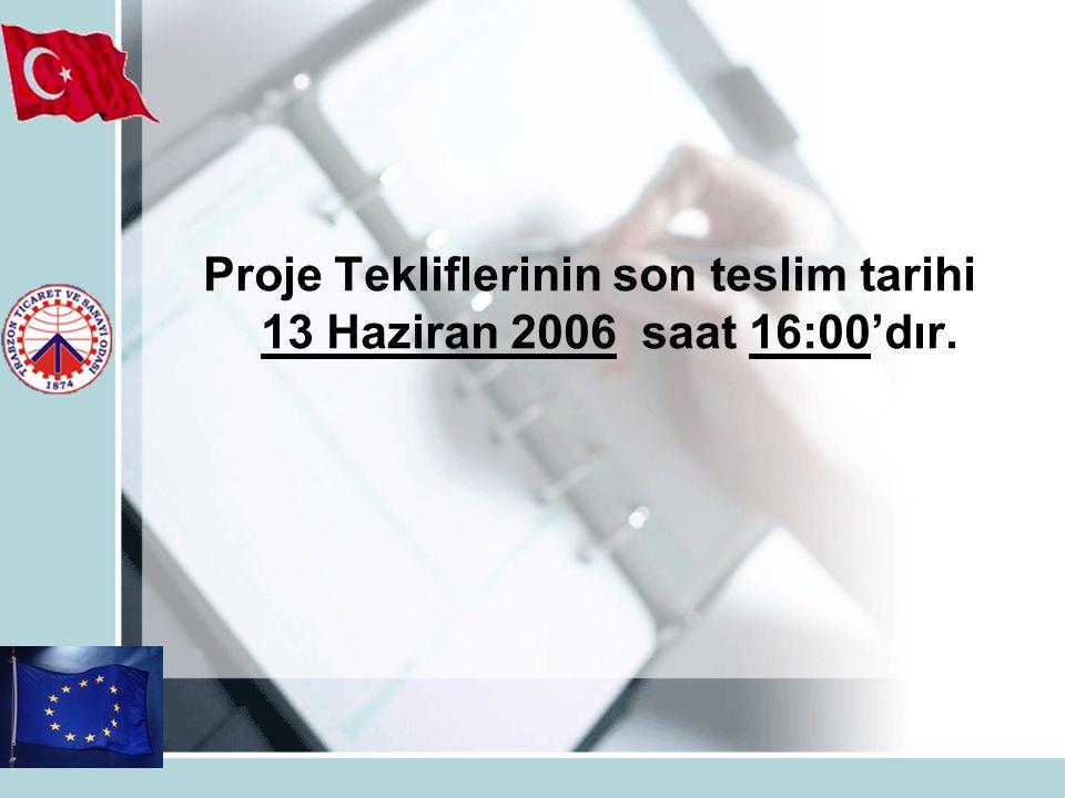 Proje Tekliflerinin son teslim tarihi 13 Haziran 2006 saat 16:00'dır.