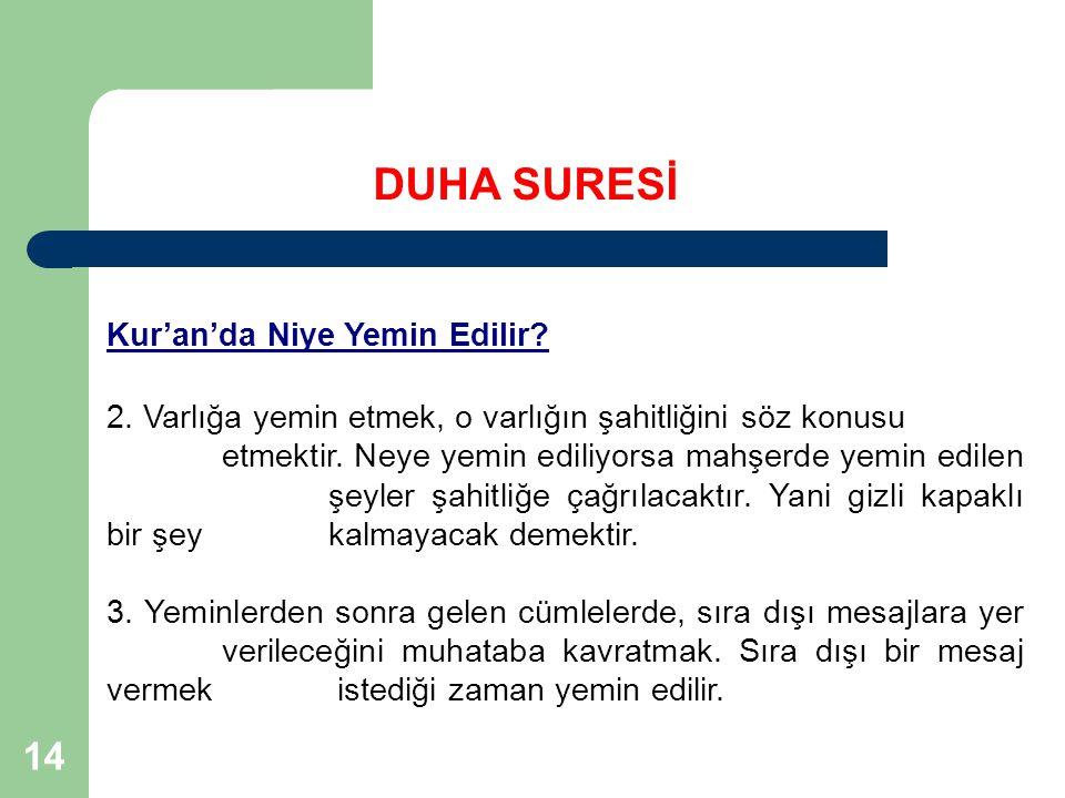 DUHA SURESİ Kur'an'da Niye Yemin Edilir