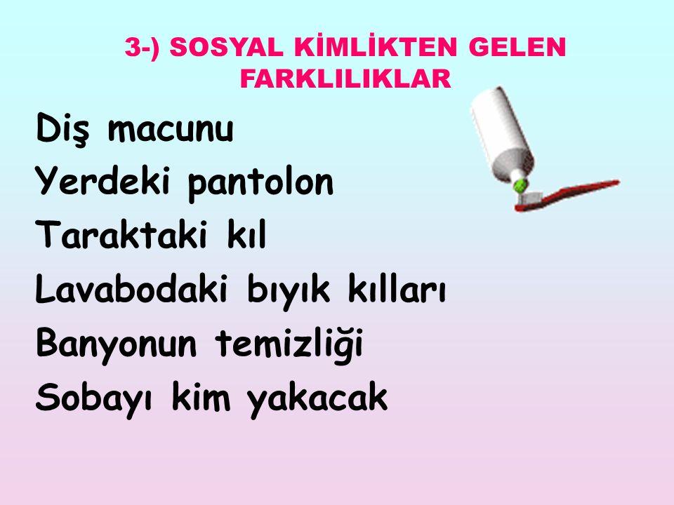 3-) SOSYAL KİMLİKTEN GELEN FARKLILIKLAR