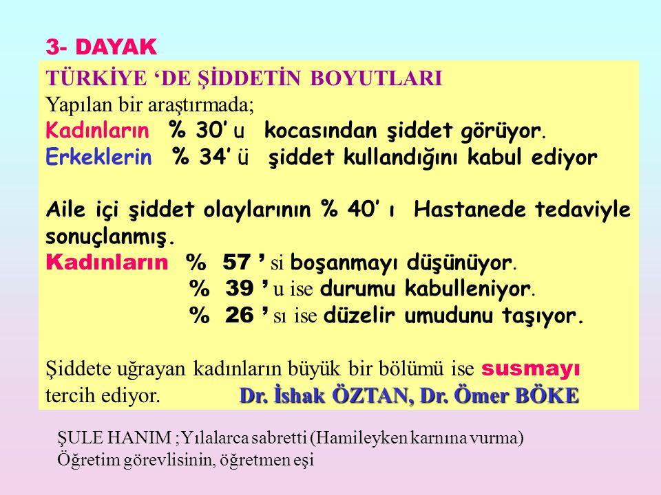 TÜRKİYE 'DE ŞİDDETİN BOYUTLARI Yapılan bir araştırmada;