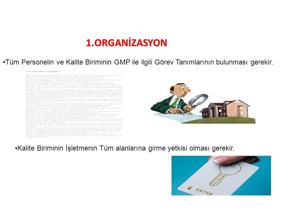 1.ORGANİZASYON Tüm Personelin ve Kalite Biriminin GMP ile ilgili Görev Tanımlarının bulunması gerekir.