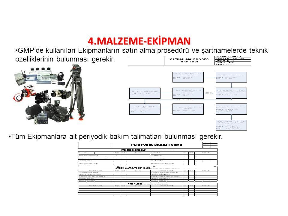 4.MALZEME-EKİPMAN GMP'de kullanılan Ekipmanların satın alma prosedürü ve şartnamelerde teknik özelliklerinin bulunması gerekir.