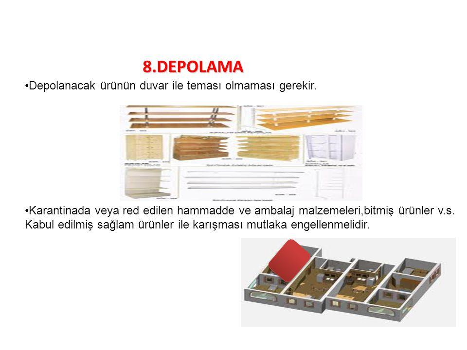 8.DEPOLAMA Depolanacak ürünün duvar ile teması olmaması gerekir.