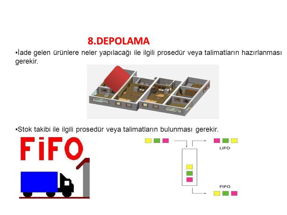 8.DEPOLAMA İade gelen ürünlere neler yapılacağı ile ilgili prosedür veya talimatların hazırlanması gerekir.