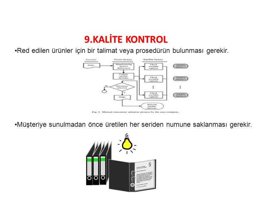 9.KALİTE KONTROL Red edilen ürünler için bir talimat veya prosedürün bulunması gerekir.