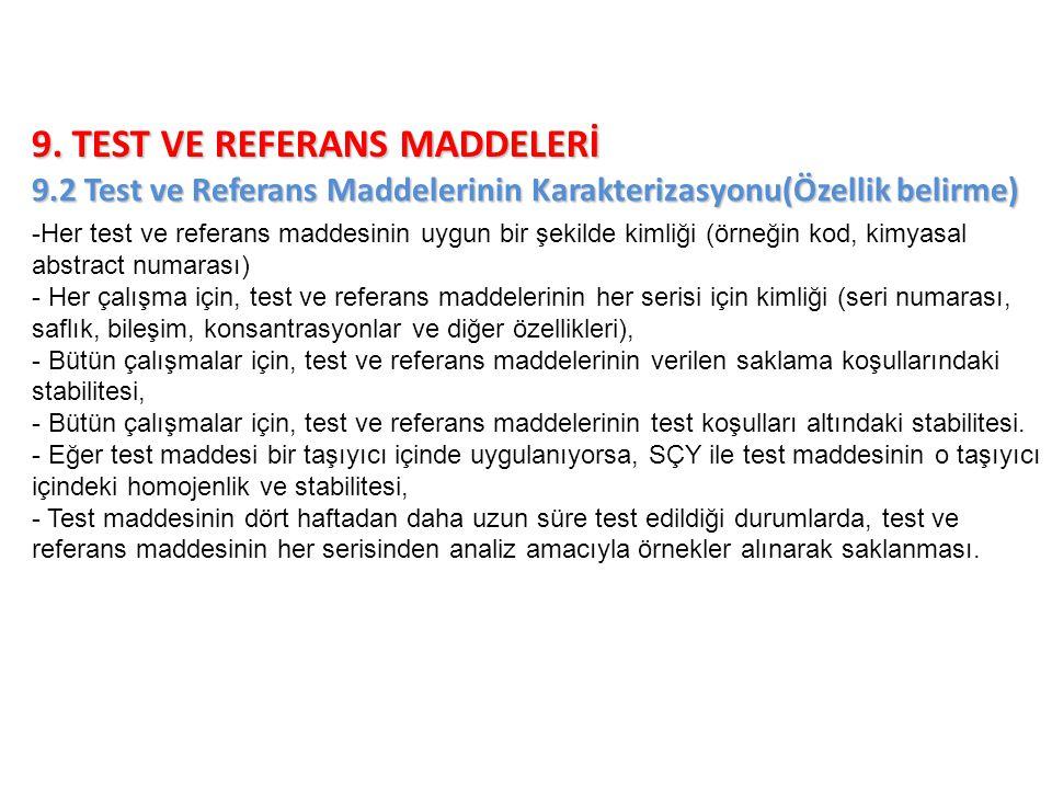 9. TEST VE REFERANS MADDELERİ