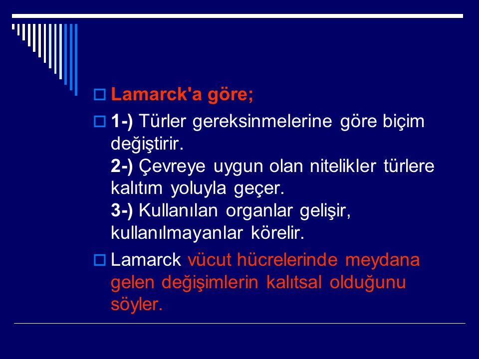 Lamarck a göre;