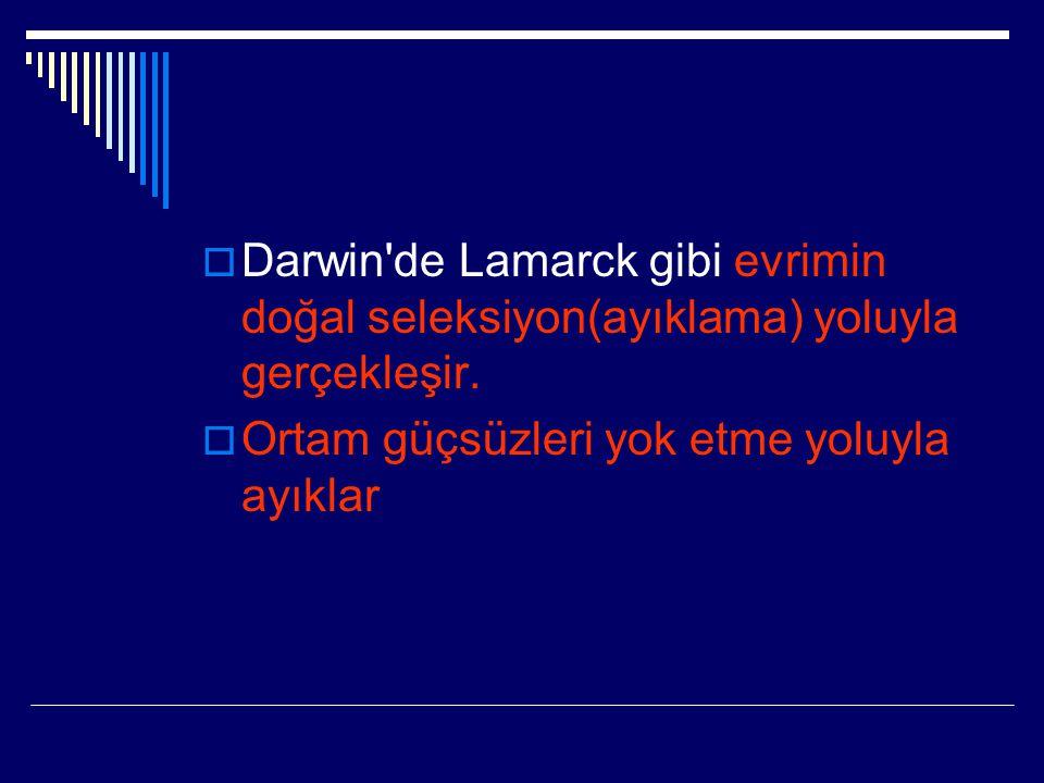 Darwin de Lamarck gibi evrimin doğal seleksiyon(ayıklama) yoluyla gerçekleşir.