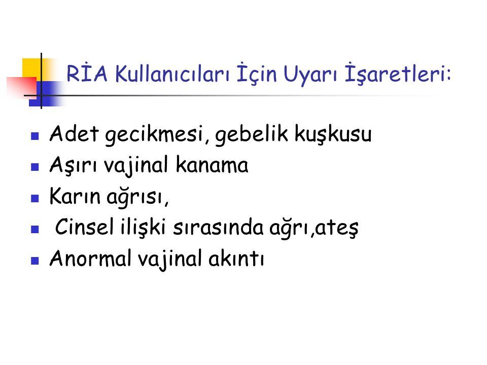 RİA Kullanıcıları İçin Uyarı İşaretleri: