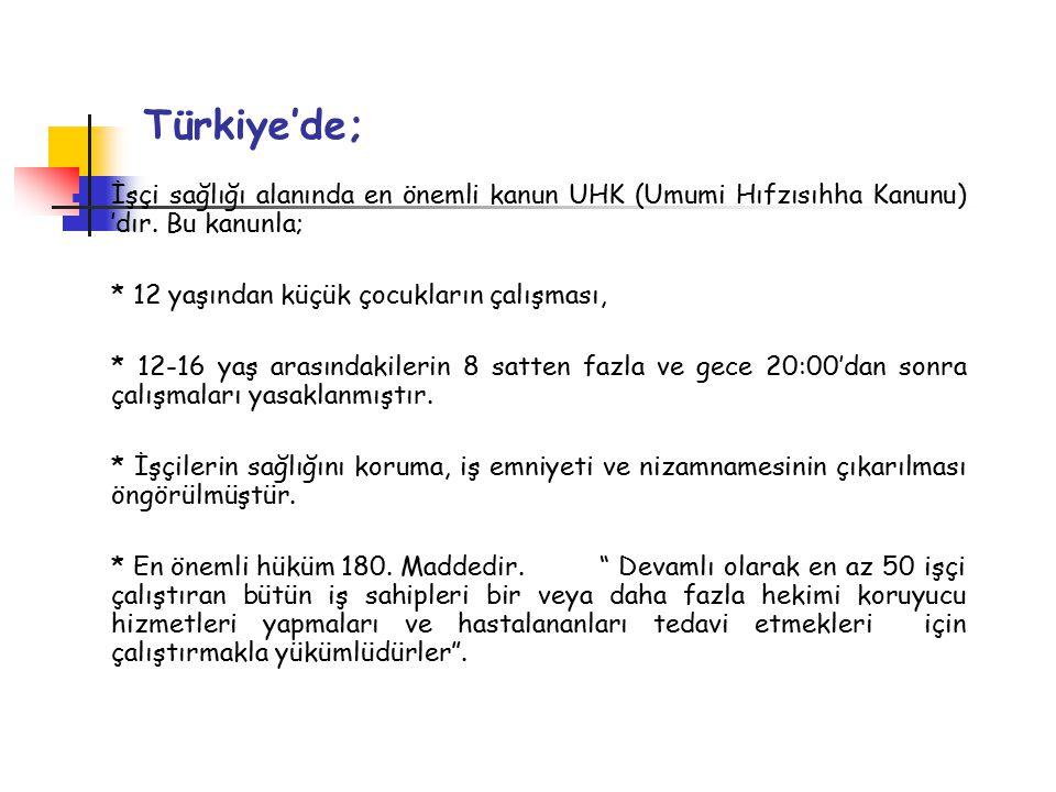 Türkiye'de; İşçi sağlığı alanında en önemli kanun UHK (Umumi Hıfzısıhha Kanunu) 'dır. Bu kanunla; * 12 yaşından küçük çocukların çalışması,