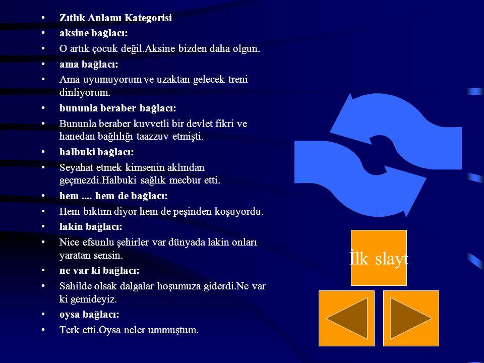 İlk slayt Zıtlık Anlamı Kategorisi aksine bağlacı: