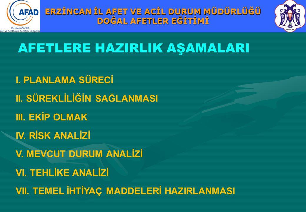 AFETLERE HAZIRLIK AŞAMALARI