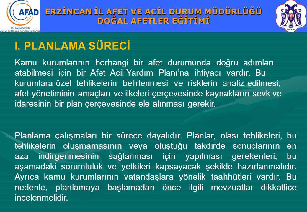I. PLANLAMA SÜRECİ