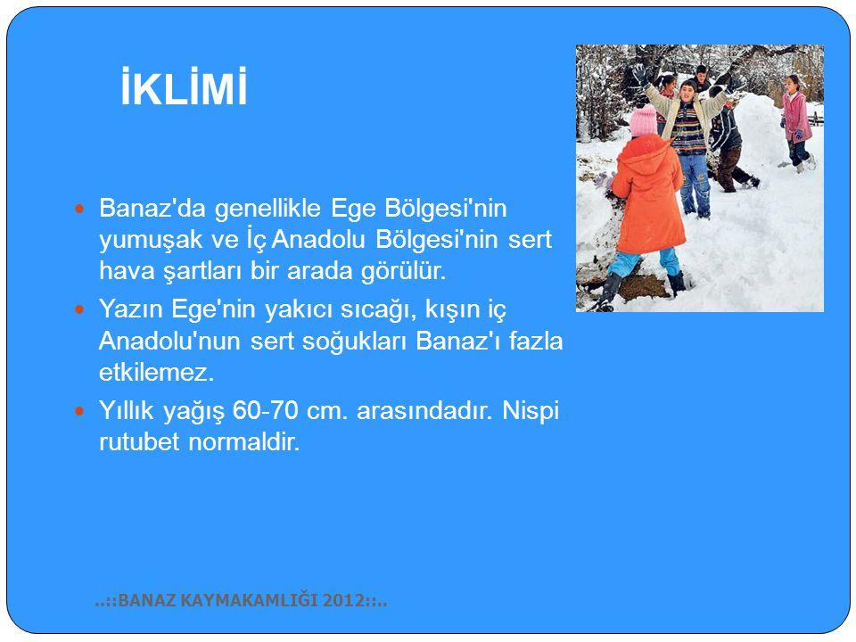 İKLİMİ Banaz da genellikle Ege Bölgesi nin yumuşak ve İç Anadolu Bölgesi nin sert hava şartları bir arada görülür.