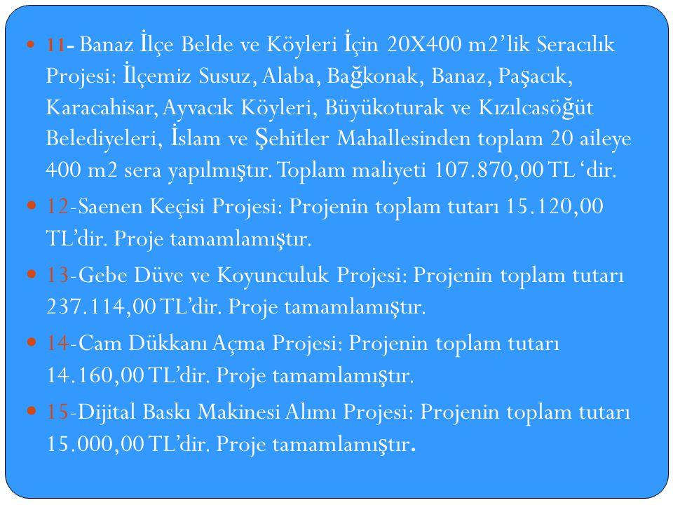 11- Banaz İlçe Belde ve Köyleri İçin 20X400 m2'lik Seracılık Projesi: İlçemiz Susuz, Alaba, Bağkonak, Banaz, Paşacık, Karacahisar, Ayvacık Köyleri, Büyükoturak ve Kızılcasöğüt Belediyeleri, İslam ve Şehitler Mahallesinden toplam 20 aileye 400 m2 sera yapılmıştır. Toplam maliyeti 107.870,00 TL 'dir.