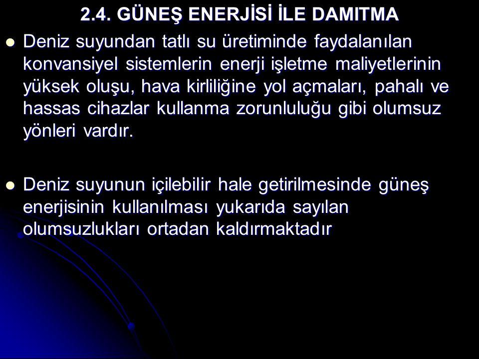 2.4. GÜNEŞ ENERJİSİ İLE DAMITMA