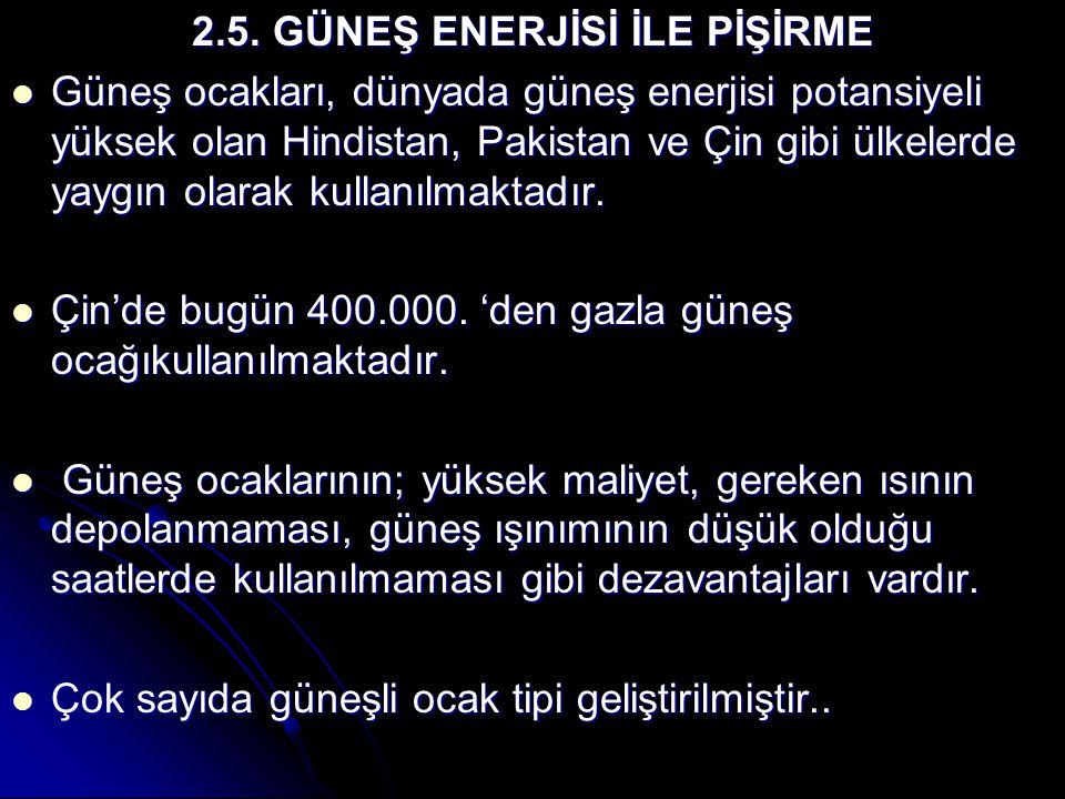 2.5. GÜNEŞ ENERJİSİ İLE PİŞİRME