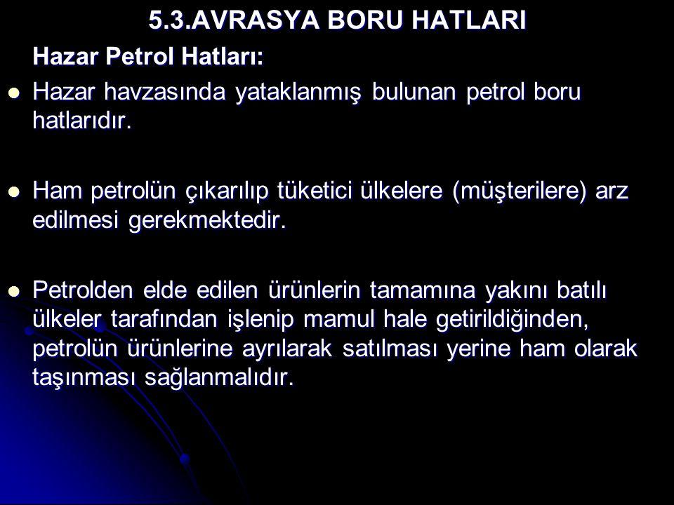 5.3.AVRASYA BORU HATLARI Hazar Petrol Hatları: