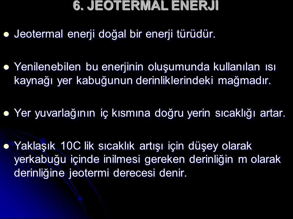 6. JEOTERMAL ENERJİ Jeotermal enerji doğal bir enerji türüdür.