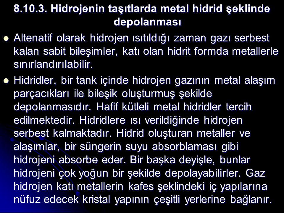 8.10.3. Hidrojenin taşıtlarda metal hidrid şeklinde depolanması