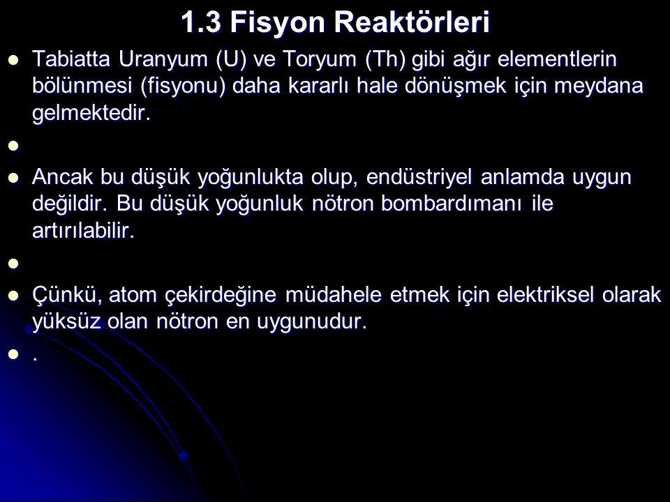 1.3 Fisyon Reaktörleri